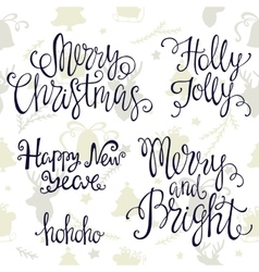 Handdrawn lettering merry Christmas and happy new vector image