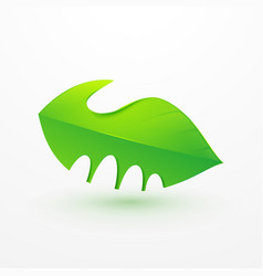 handshake between human hand and tree logo icon vector image