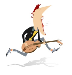 Jumping guitar player vector image