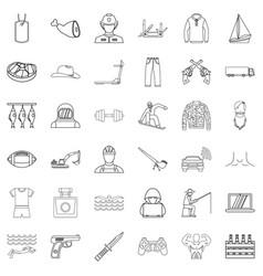 Labour legislation icons set outline style vector