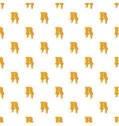 Letter r from honey pattern vector