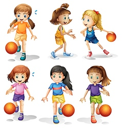 Little female basketball players vector