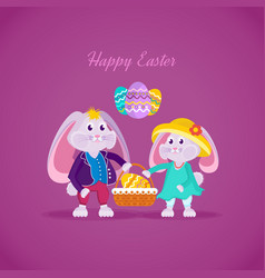 lovely beautiful rabbits holding basket with egg vector image vector image