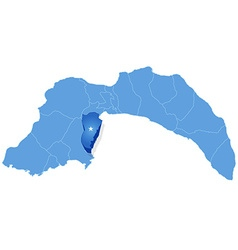 Map of antalya - kemer is pulled out vector