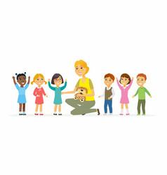 Nursery teacher with children - cartoon people vector