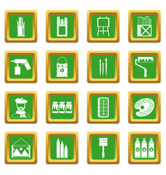 Painting icons set green vector