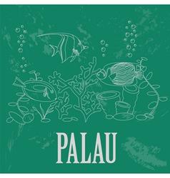 Palau retro styled image vector
