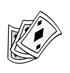 Poker playing card magic show outline vector