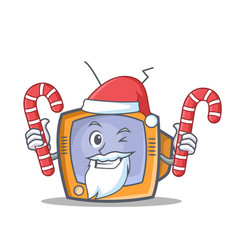 Santa tv character cartoon object with candy vector