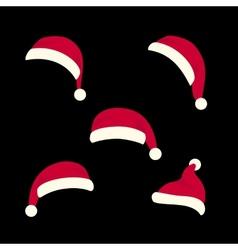 Santas hats set vector image