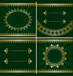 set of vintage golden frames on green backgrounds vector image vector image