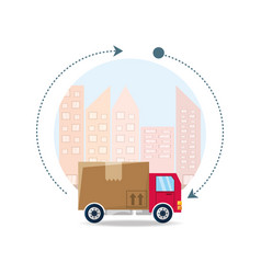 Trunk with box package service in the city vector