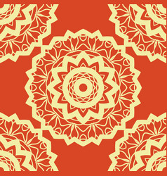 Vintage mandala pattern retro yellow on red vector