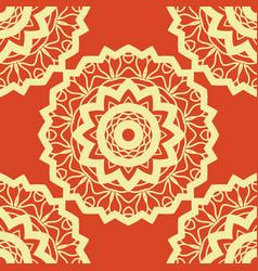vintage mandala pattern retro yellow on red vector image vector image