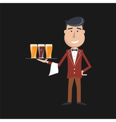 Waiter beer vector