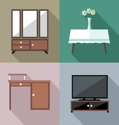 Furniture set in outlines digital image vector