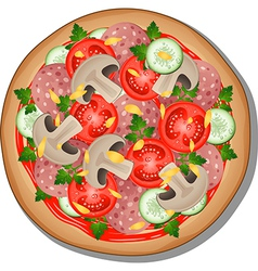 Pizza with toppings vector