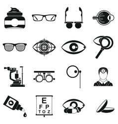 Ophthalmologist tools icons set simple style vector