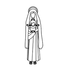 Silhouette saint virgin mary with baby jesus vector