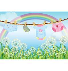 Hanging clothes for toddlers vector