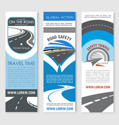 Road banner set for travel and transport design vector