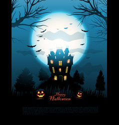 Blue halloween haunted house background vector