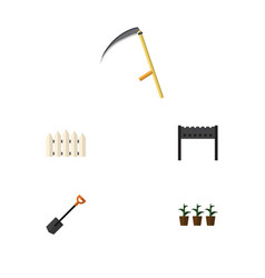 Flat icon dacha set of flowerpot cutter barbecue vector