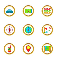 Cartography icons set cartoon style vector