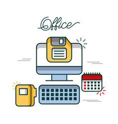 office computer calendar folder file diskette work vector image