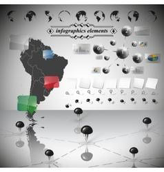 Map of south america different icons and vector