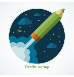 Flat design modern startup concept with starting vector
