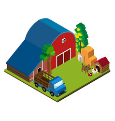 3d design for scene with barn and truck vector image