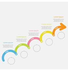 Colorful timeline infographic upwards arrow vector
