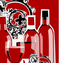 funky wine bottles vector image