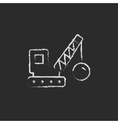 Demolition crane icon drawn in chalk vector