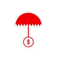 Stylish sticker on paper umbrella and coins vector
