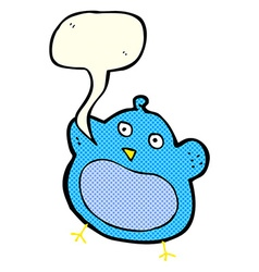 Cartoon fat bird with speech bubble vector