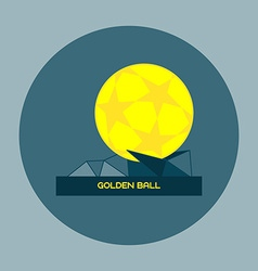 Golden ball soccer prize on a stand vector