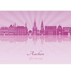 Aachen skyline in purple radiant orchid vector