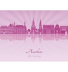 Aachen skyline in purple radiant orchid vector