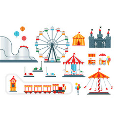 amusement park flat elements isolated on vector image vector image