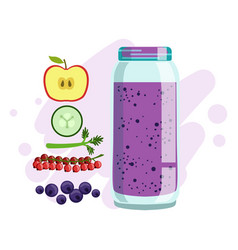 Apple cucumber red currant and blueberry vector