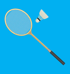 Badminton racket and white shuttlecock with black vector