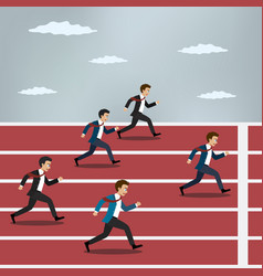 Business people running on red rubber track vector