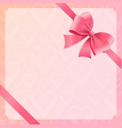 Card witch silk pink ribbon and bow vector