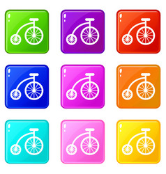 Children bicycle set 9 vector
