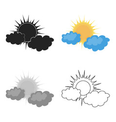 Cloudy weather icon in cartoon style isolated on vector