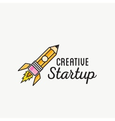 Creative startup rocket abstract logo vector