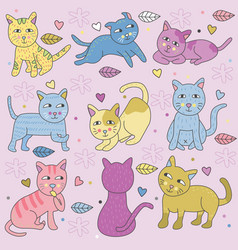 Doodle cats in many pose pastel colors vector
