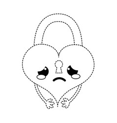 Dotted shape crying heart padlock kawaii personage vector